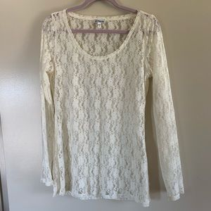 Express   Beige Lace Long Sleeve Sheer Blouse, L